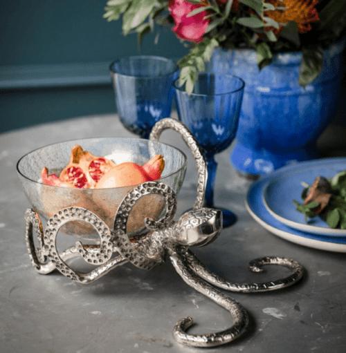 Octopus Bowl - Hammered Metal - Octopus Design - Glass Bowl