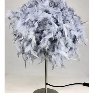 Table Lamp - Round Grey Fluffy Feather Design - 60cm