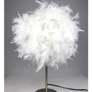 Table Lamp - Round White Fluffy Feather Design - 60cm
