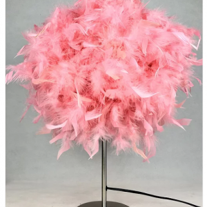 Table Lamp - Round Pink Fluffy Feather Design - 60cm