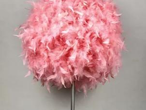 Floor Lamp - Round Pink Fluffy Feather Design - 150cm