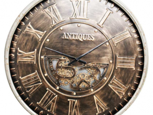 Wall Clock - Large Round Moving Gold Cogs - Gold Finish