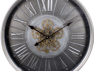 Wall Clock - Round Moving Gold Cogs - Silver Metal Finish