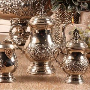 Tea Set - Chrome Design - Tea Pot - Sugar Bowl - Milk Jug Set