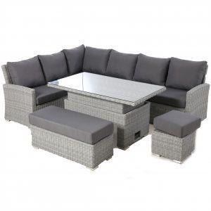 Garden Corner Sofa Dining Set - Rising Dining Table - Grey Poly Weave