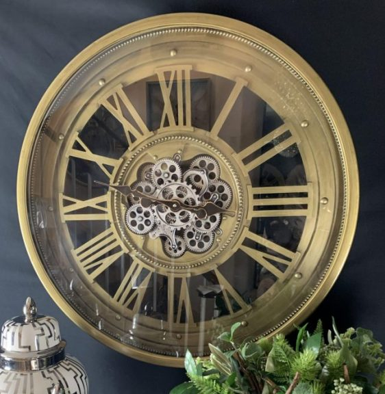 Wall Clock - Round Skeleton Silver Moving Cogs - Champagne Gold Finish