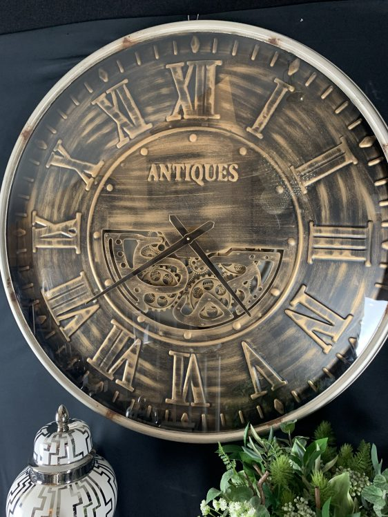 Wall Clock - Large Round Moving Gold Cogs Clock - Gold Finish