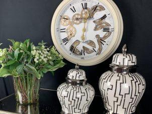 Wall Clock - Moving Center Cogs - Round Designer Wall Clock - Cream Finish