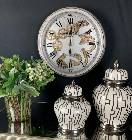 Wall Clock - Moving Center Cogs - Round Designer Wall Clock - Pewter Finish