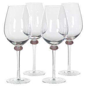 White Wine Glasses - Pink & Gold Crystal Design - Set Of 4