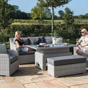 Garden 3 Seater Dining Set - Rising Dining Table - Grey Poly Weave
