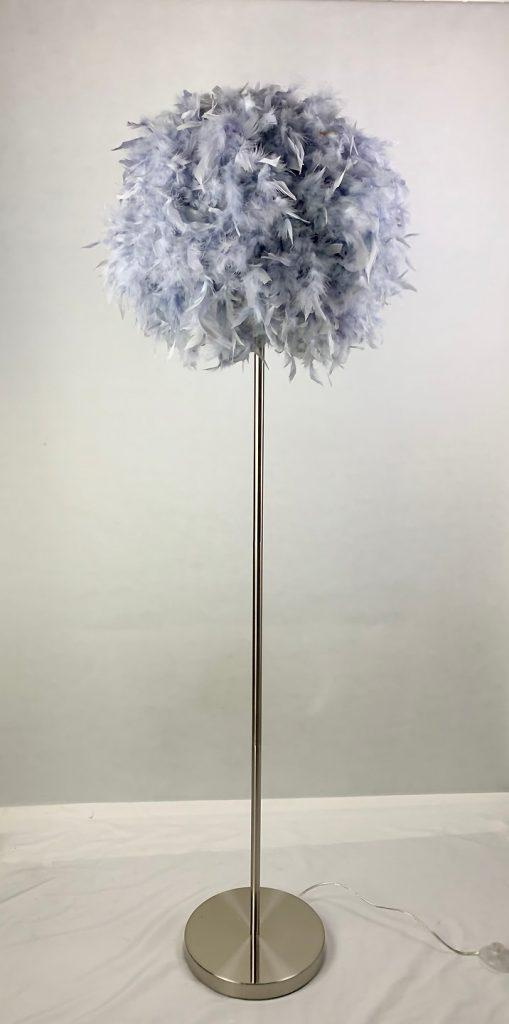 Floor Lamp - Round Grey Fluffy Feather Design - 150cm