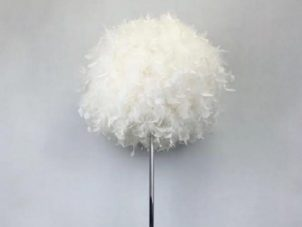 Floor Lamp - Round White Fluffy Feather Design - 150cm