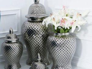 Large Ginger Jar - Silver Filigree Design Shaped Lidded Jar