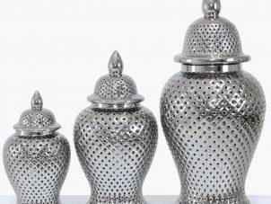 Large Ginger Jar - Silver Ceramic Filigree Design Shaped Lidded Jar