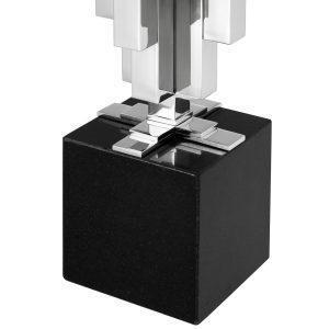 Table Lamp - Sculptured Square Rods Chrome Base - Black Square Shade