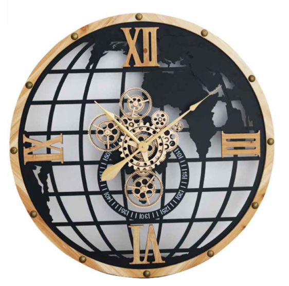 Wall Clock - Round Central Moving Cogs - World Globe Design - Beech Surround