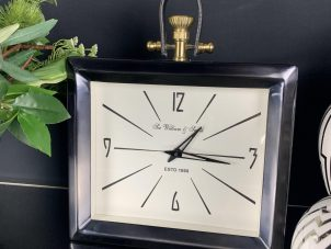Mantel Clock - 'Sir William & Smith Clock Co' - Black Chrome & Brass
