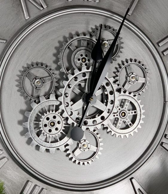 Wall Clock - Round Central Moving Cogs - Champagne Silver Finish
