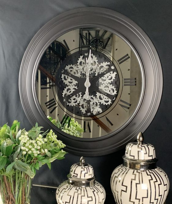 Wall Clock - 'Champs Elysee' - Moving Cogs - Mirror & Black Finish