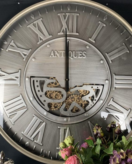 Wall Clock - Large Round Moving Gold Cogs - Silver Finish