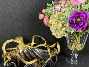 Octopus Fruit Bowl - Octopus Design - Polished Black & Gold