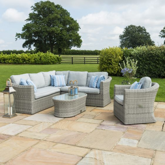 7 Seat Corner Garden Sofa Set - Coffee Table - Chair - Large - Grey Poly Rattane Table - Chair - Grey Poly Rattan