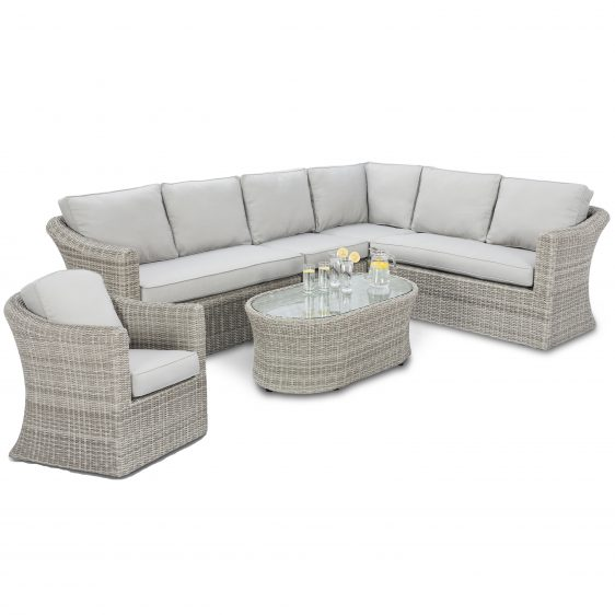 7 Seat Corner Garden Sofa Set - Coffee Table - Chair - Grey Poly Rattan