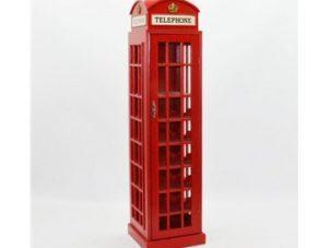 Wine Rack - 18 Bottle Telephone Box Design - Floor Standing - Pillar Box Red
