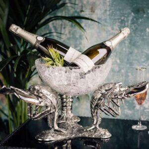 Lobster Fruit Bowl - Extra Large Design - Polished Chrome & Glass