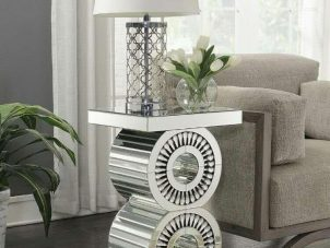 Lamp Table - Crystal Mirrored & Bevel Edged - Mirrored Furniture Range