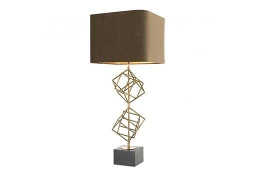 Table Lamp Sculptured Squares Brass, Brass Square Base Table Lamp