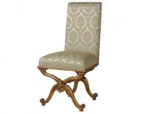 Dining Chair - Green & Gold Silk Upholstered - Antique Gilt Range