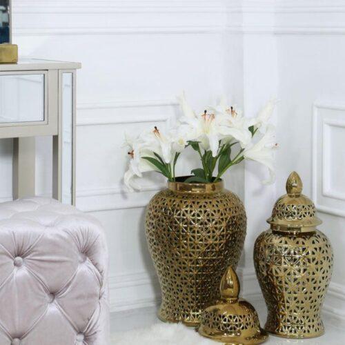 Medium Ginger Jar - Gold Ceramic Filigree Design Shaped Lidded Jar