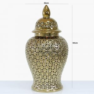Large Ginger Jar - Gold Ceramic Filigree Design Shaped Lidded Jar