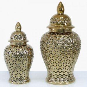 Small Ginger Jar - Gold Ceramic Filigree Design Shaped Lidded Jar