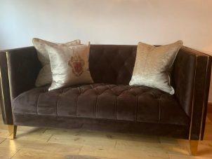 2 Seater Sofa - Deep Buttoned Chocolate Velvet - Polish Brass Finish Feet