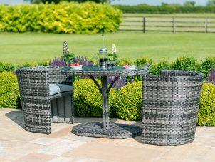 Balcony 2 Seat Bistro Set - Glass Top Table & 2 Chairs - Mixed Grey Poly Weave