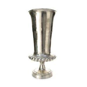 Vase/Urn - Carved Design - Large - Polished Hammered Metal Finish