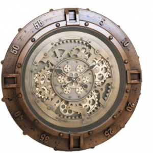 Wall Clock Nautical - Moving Cogs in Brass - Brown Surround
