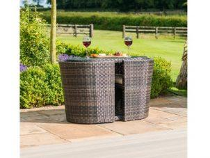 Balcony 2 Seat Bistro Set - Glass Top Table & 2 Chairs - Mixed Brown Poly Weave