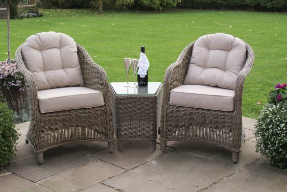 2 Seat Bistro Set - Glass Top Table & 2 Chairs - Natural Round Polyweave