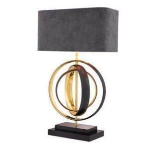Table Lamp - Gunmetal & Polished Brass Finish - Gold Inlaid Shade