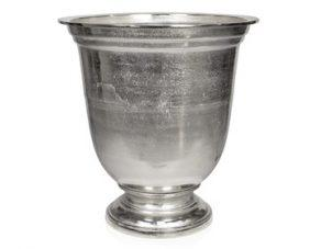 Vase/Urn - Carved Design - Polished Hammered Metal Finish