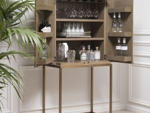 Drinks/Bar Cabinet - Washed Oak Veneer - Brushed Brass Finish