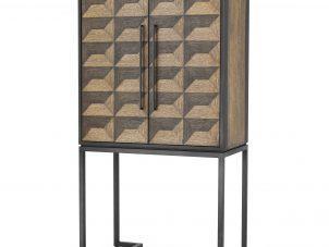 Drinks/Bar Cabinet - Oak Veneer - Bronze Metal Finish