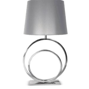 Table Lamp - Concentric Chrome Circles - Grey Shade