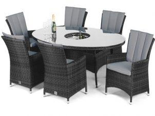 6 Seater Oval Dining Set - Ice Bucket - Parasol & Base - Grey Polyweave
