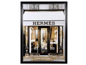 Hermes Wall Art - Large Black Framed - Designer Store Front Design
