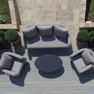 Garden Sofa Set - All Weather Fabric - 5 Seat - Coffee Table - GREY